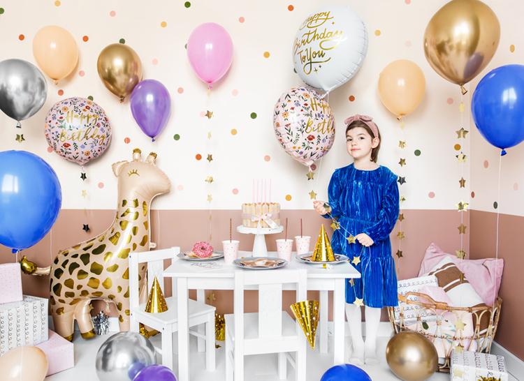 Folieballong, Happy Birthday, blommor