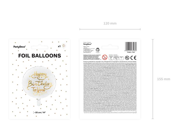 Folieballong, Happy Birthday, vit