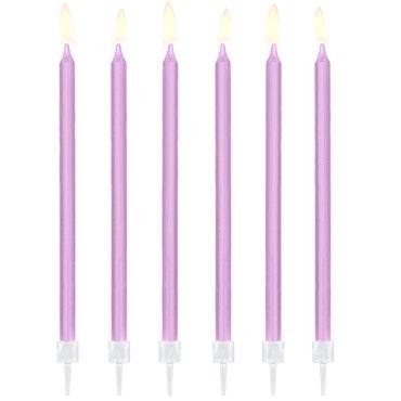 Tårtljus, lila, 12-pack