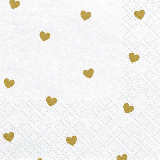 Servetter, hjärtan guld, 20-pack