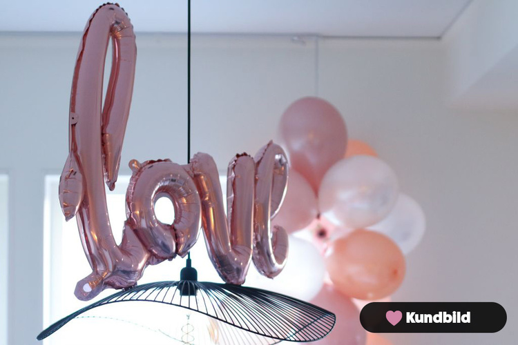 Folieballong, Love, roséguld