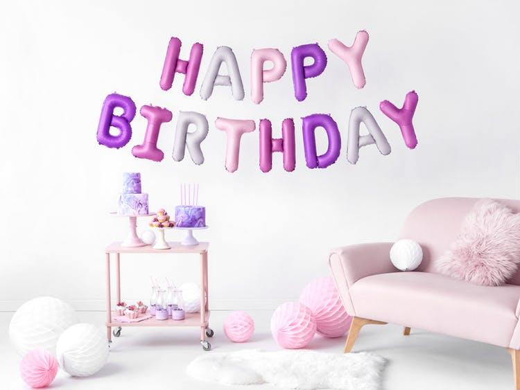 Folieballong, Happy Birthday, Rosa-lila