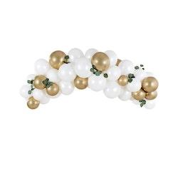 Ballongbåge, vit & guld