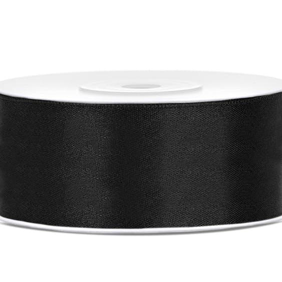 Satinband, svart