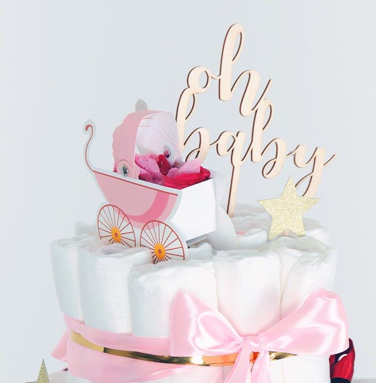 Tårtdekoration, barnvagn, rosa