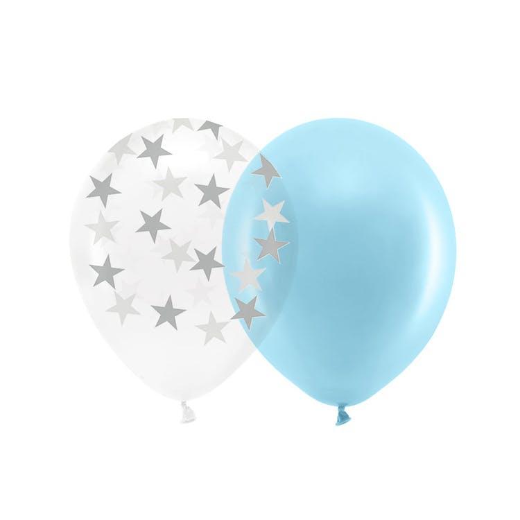 Ballong, blå & silver mix, 10-pack