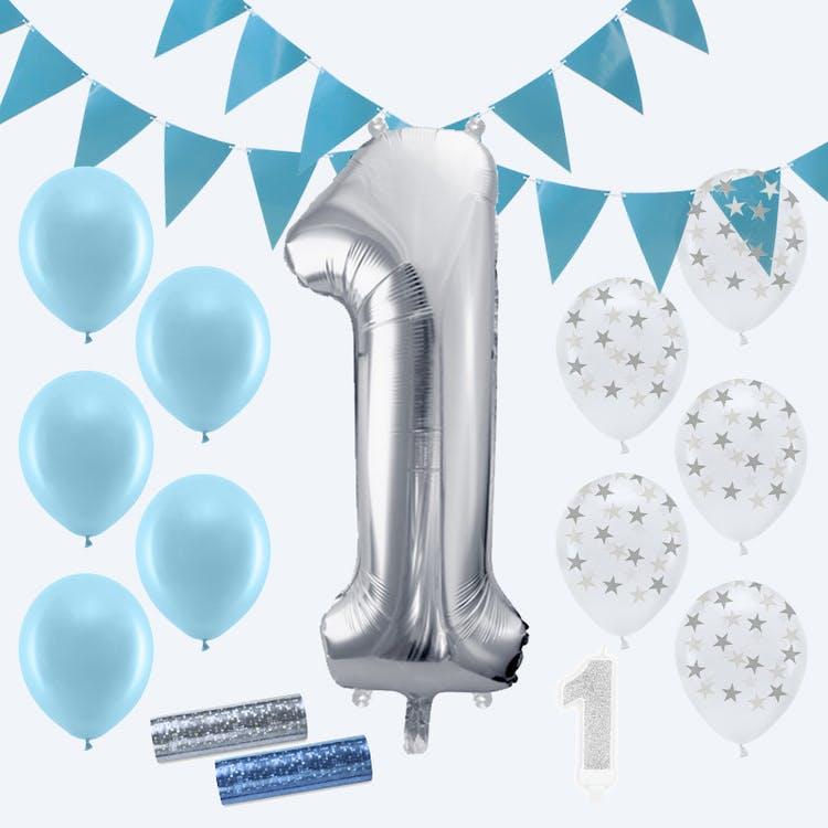 1 års kalas paket blå och silver
