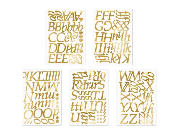 Stickers, bokstäver guld