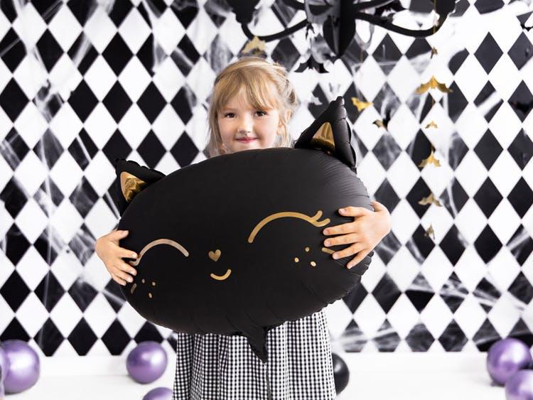 Folieballong, katt, svart