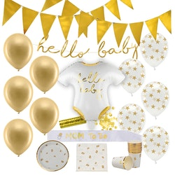 Baby Shower Dekoration, Paket Deluxe, Guld