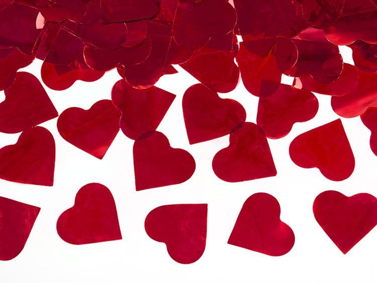 Konfettibomb, röda hjärtan
