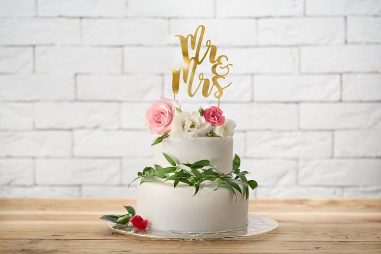 Cake topper, Mr&Mrs, guld