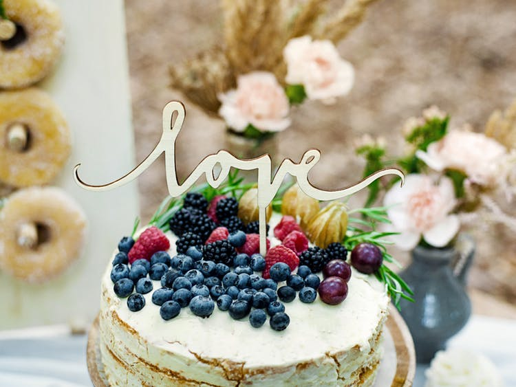 Cake topper, love, trä