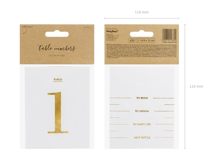 Bordsnumrering, flask-dekaler