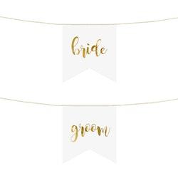 Stolsdekoration, Bride & Groom, Vit & Guld