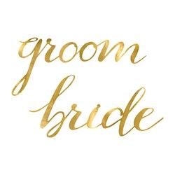Stolsdekoration, Bride & Groom, Guld