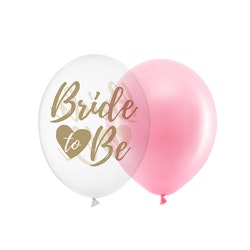Ballong, Bride to be, rosa-guld mix, 10-pack