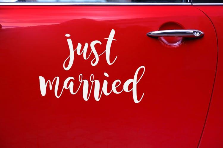 Bildekoration, Bröllop, Just married