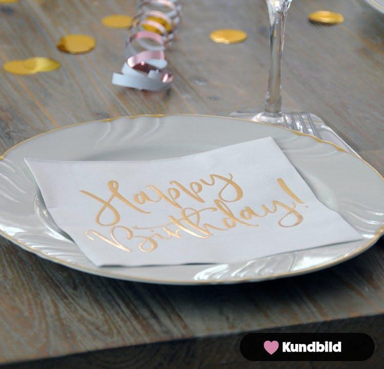 Servetter, Happy Birthday, Guld, 20-pack