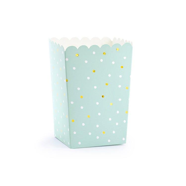 Popcornbox, guldprickar, 6-pack