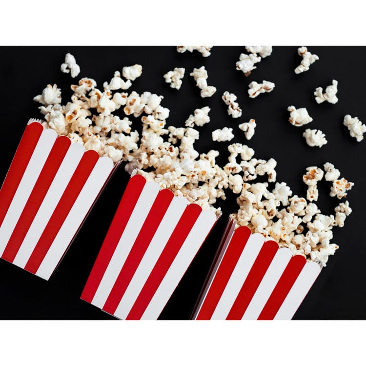 Popcornbox, röd randig, 6-pack