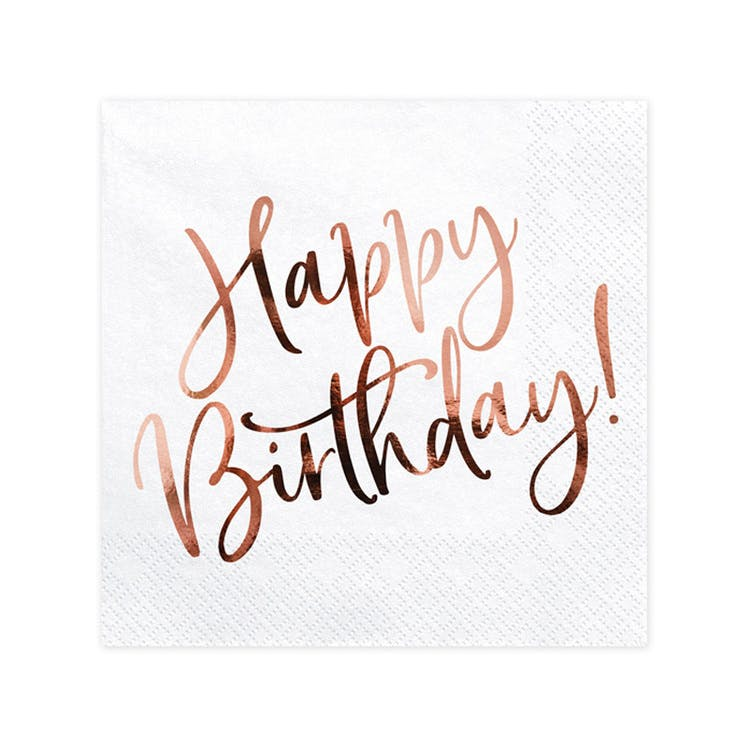 Servetter, Happy Birthday, Roséguld, 20-pack