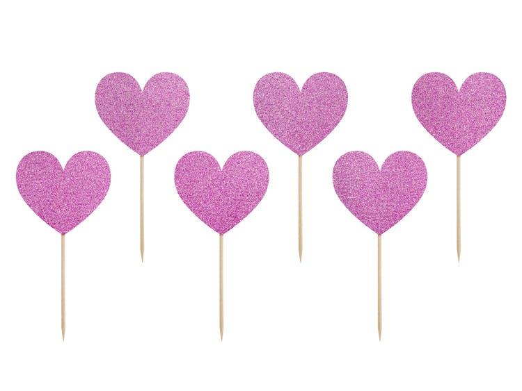 Cake picks, lila hjärtan, 6-pack