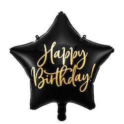 Folieballong, Happy Birthday, Stjärna, Svart