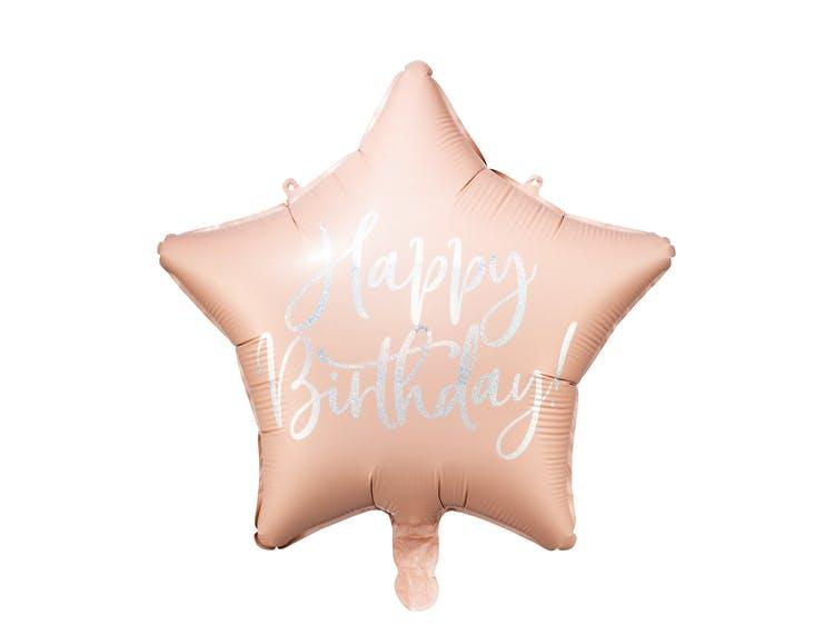 Folieballong, Happy Birthday, Stjärna, Ljusrosa