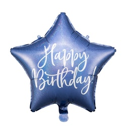 Folieballong, Happy Birthday, Stjärna, Blå