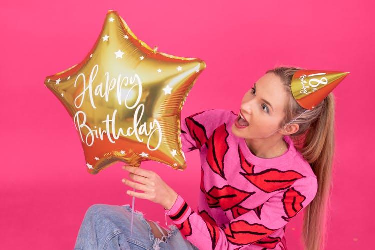 Folieballong, Happy Birthday, Stjärna, Guld