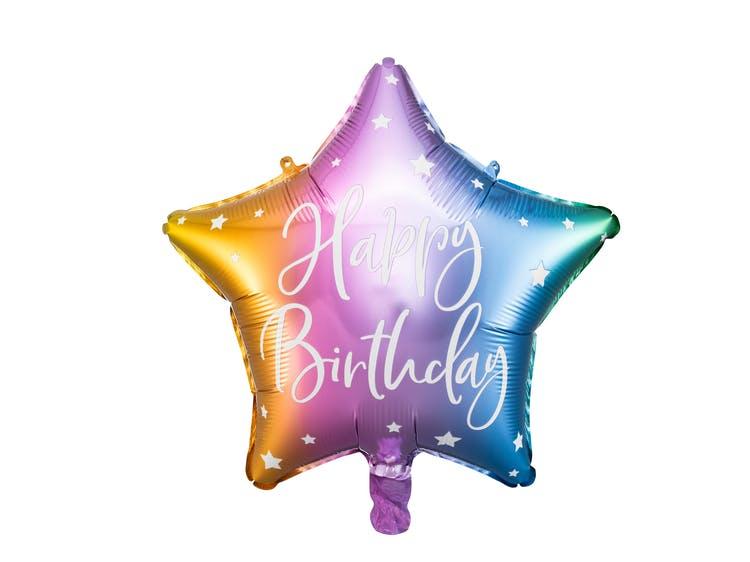 Folieballong, Happy Birthday, Stjärna, Färgmix