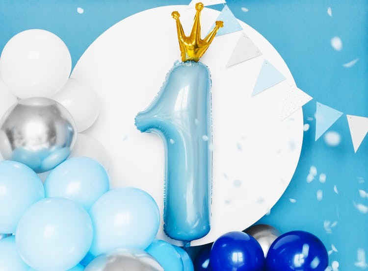 Folieballong, 1-års kalas, blå med krona