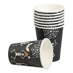 Pappmugg, Halloween, Skelett, 8-pack