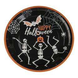 Papptallrik, Halloween, Skelett, 8-pack