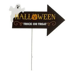 Skylt, Halloween, Trick or treat