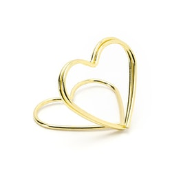 Placeringskortshållare, guldhjärta, 10-pack