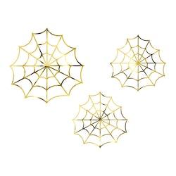 Pappersdekoration, spindelnät, guld, 3-pack
