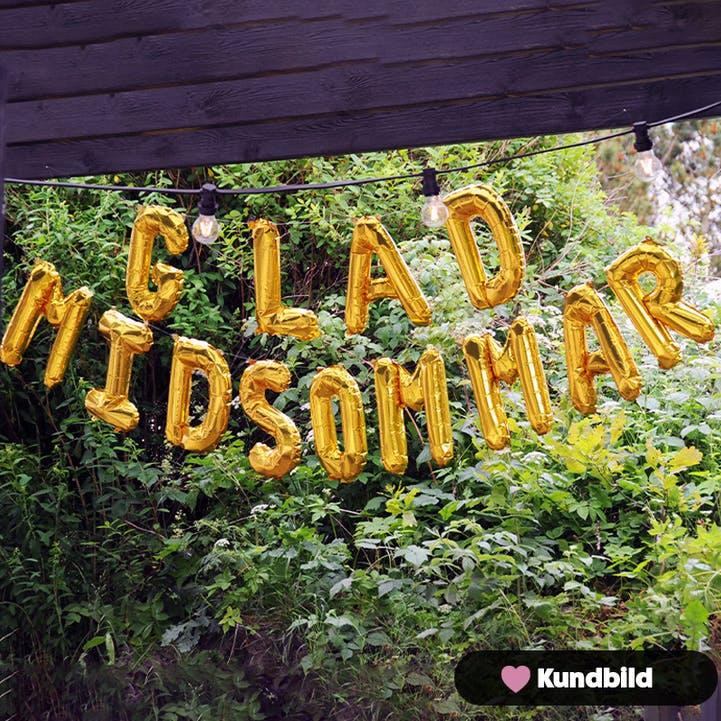Folieballong, Glad Midsommar, Guld