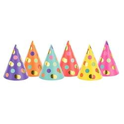 Partyhatt, prickar färgmix, 6-pack