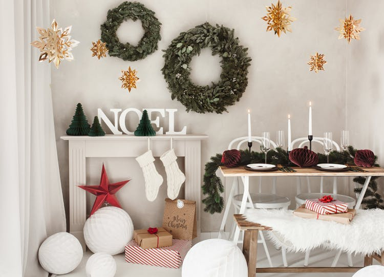 Hängande dekoration, snöflingor, guld, 6-pack