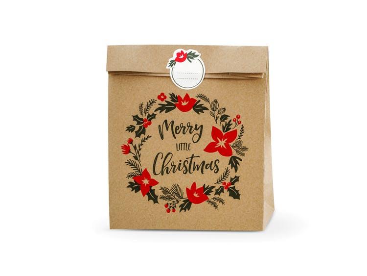 Presentpåse, jul, natur, 3-pack