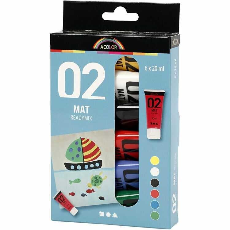 Akrylfärg, standardfärg, matt, 6-pack