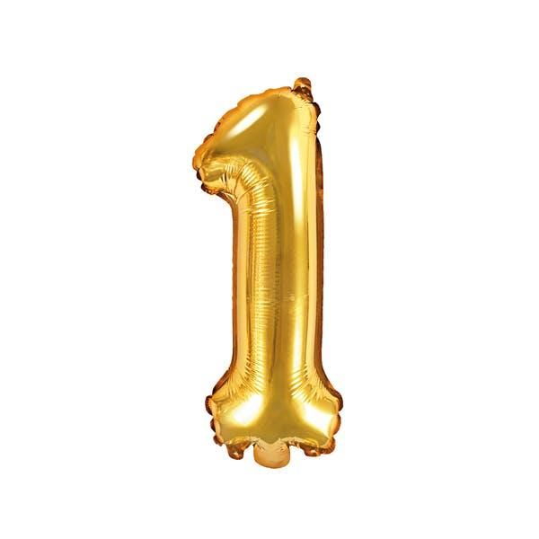 Sifferballong, liten, guld