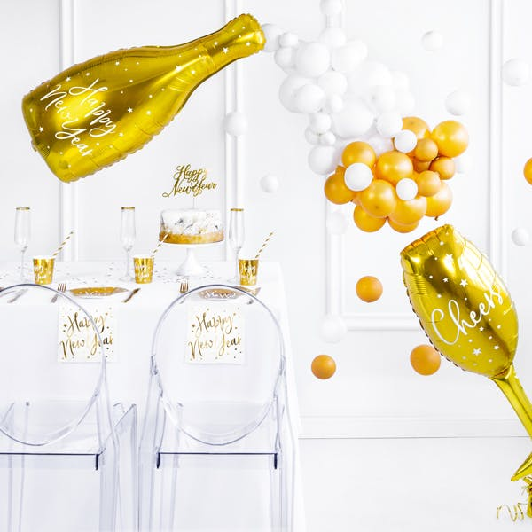 Folieballong, flaska, Happy New Year
