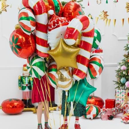 Folieballong, Polkagris, röd