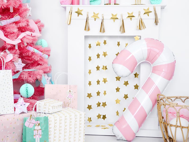 Folieballong, Polkagris, rosa