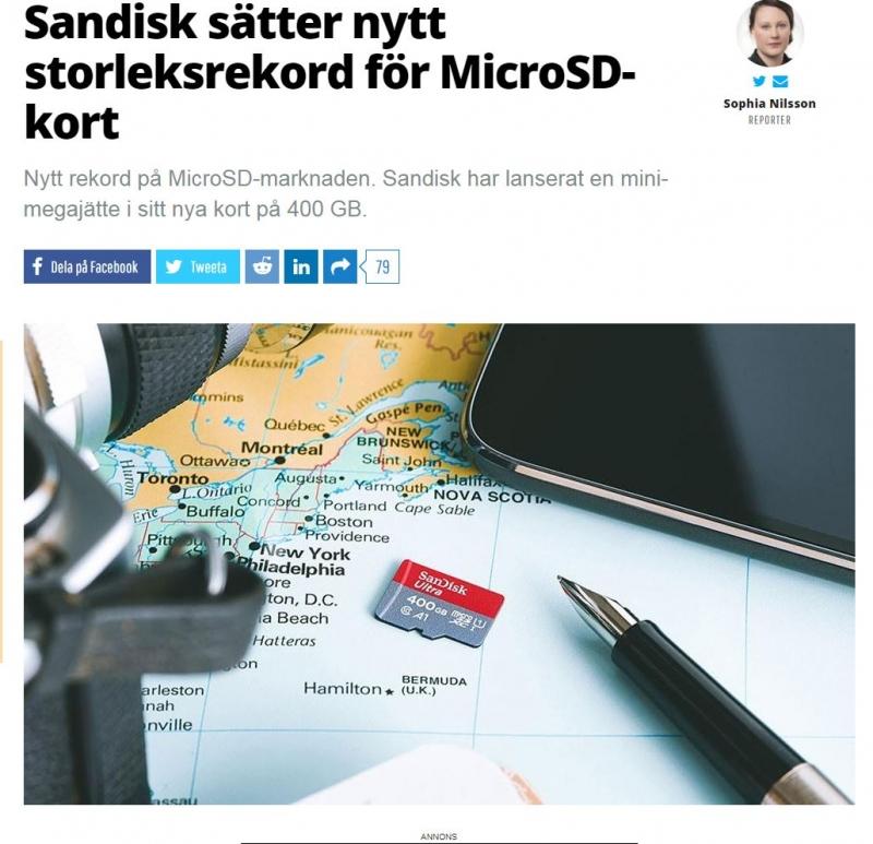 Sandisk micro SD-kort sätter rekord.
