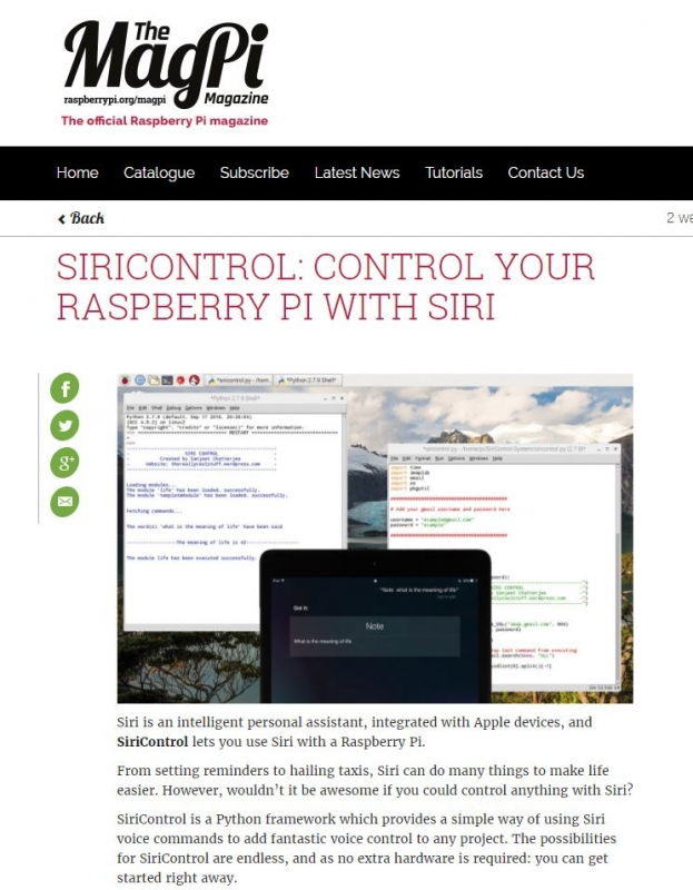 Siricontrol: Control your Raspberry Pi with Siri.