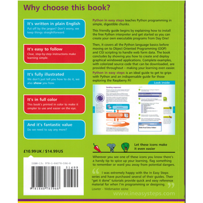 Python in easy step makes fun! - bild på baksidan